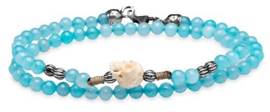 BRACELET DOUBLE-SILVER STICK SKULL BLUE BALL CAB9CT18