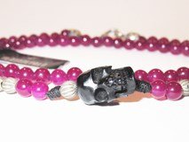DOUBLE BRACELET EN ARGENT STERLING STICK BILLE PURPLE SKULL CAB9AT20 Plata de palo
