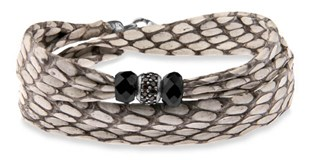 DOUBLE BRACELET STERLING SILVER ONYX ASB9T22 AND WHITE COBRA SKIN STICK Plata de palo