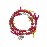 BRACELET DOUBLE SILVER IN PALO RED WITH SILKS AND CRYSTAL SK21DT17 Plata de palo