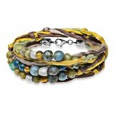 BRACELET DOUBLE-SILVER STICK SILK GREEN BROWN YELLOW AND CRYSTAL SK2T18 Plata de palo