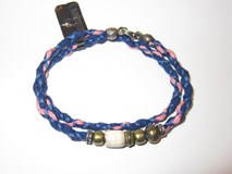 BRACELET DOUBLE STICK FABRIC PINK BLUE SILVER RESIN WHITE BRONZE CB29DT19 Plata de palo