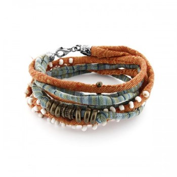 DOUBLE BRACELET STERLING SILVER STICK FABRIC ORANGE AND TURQUOISE GLASS AND BRONZE TB5AT18 Plata de palo