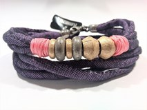 BRACELET DOUBLE FABRIC PURPLE SILVER BRONZE TB12CT18 SILVER STICK Plata de palo