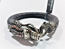 CUBIC ZIRCONIA ADB4AT23 SILVER STICK BROWN LEATHER DRAGON BRACELET Plata de palo
