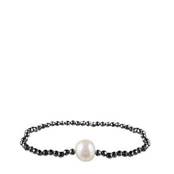 ELASTIC BRACELET HEMATITE AND CULTURED PEARL