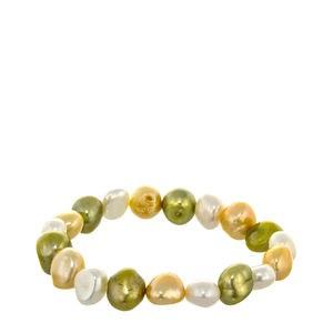 Pulsera elástica perlas barrocas verde y golden
