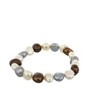Bracelet élastique perles marron et gris