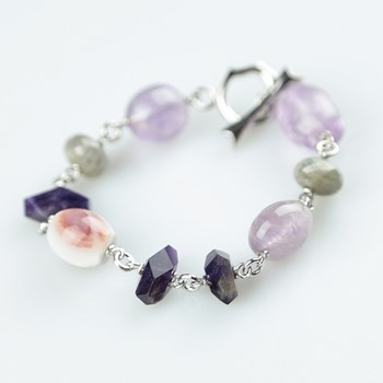 BRACELET CHAINED AMETHYST AND JASPES PU234 PATRICIA GARCIA