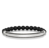 EXPANDABLE BRACELET OBSIDIAN AND VENEER LBA0007-705-11-L THOMAS SABO SILVER WITH BLACK CUBIC ZIRCONIA