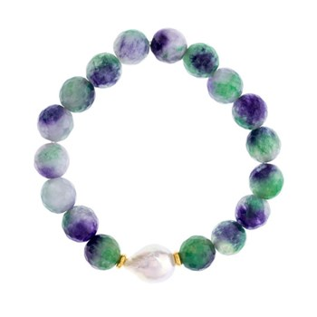 FLUORITE BRACELET AND BAROQUE CULTURED PEARL 18-132760