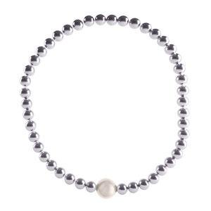 Pulsera hematites perla blanca