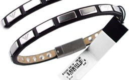 BRACELET MAN LEATHER AND SILVER EG2081 EMPORIO ARMANI
