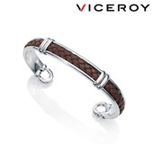 BRACELET MAN VICEROY METAL WITH SILVER PLATED AND LEATHER 1200O09011