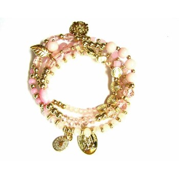 BRACELET LINEARGENT GOLDEN AND PINK 13947 STONES - R - P 13947-R-P