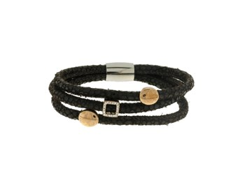 LISKA LEATHER BRACELET AND STEEL 82BR207