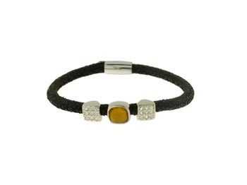 LISKA LEATHER AND STEEL BRACELET 82BR245