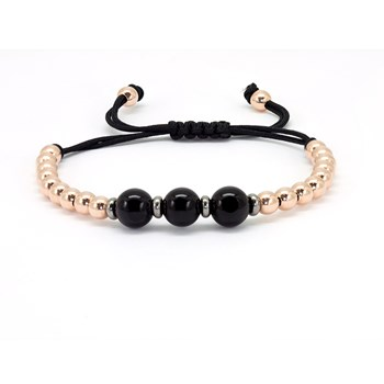 BRACELET WITH BLACK ONYX MACRAME. B4409KP999