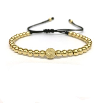 BRACELET MACRAME IN YELLOW GOLD WITH BALL CENTRAL D B4496JY993