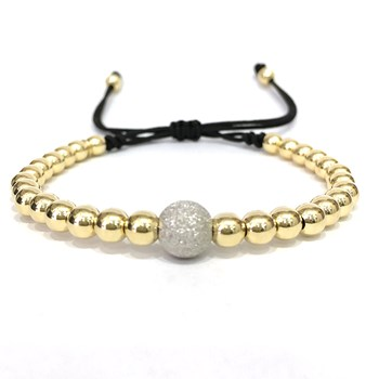 BRACELET MACRAME IN YELLOW GOLD WITH BALL DIAMANTAD B4443JY992