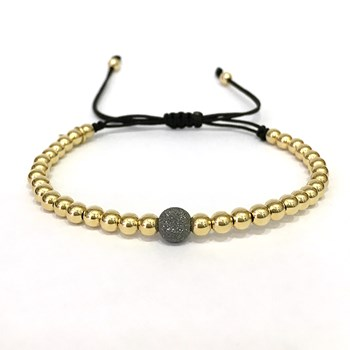 BRACELET MACRAME IN YELLOW GOLD WITH BALL DIAMANTAD B4496JY991