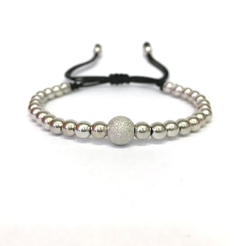 BRACELET IN WHITE GOLD WITH DIAMOND BALL MACRAME. B4443JW990