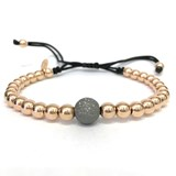 BRACELET MACRAME IN ROSE GOLD WITH DIAMOND BALL. B4443JP991