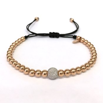 BRACELET MACRAME IN GOLD PINK WITH BALL DIAMOND. B4496JP992
