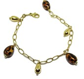 YELLOW GOLD BRACELET 18KTES WITH NUGGETS OF GOLD COLLECTION LEOPARD. 18.5 CM NEVER SAY NEVER