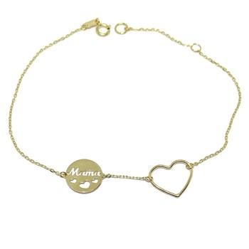 BRACELET OF YELLOW GOLD OF 18K WITH REASON, HEART, AND CIRCLE MOM. 18.5 CM NEVER SAY NEVER