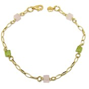 YELLOW GOLD BRACELET 18KTES WITH SEMI-PRECIOUS STONE. 18.5 CM NEVER SAY NEVER