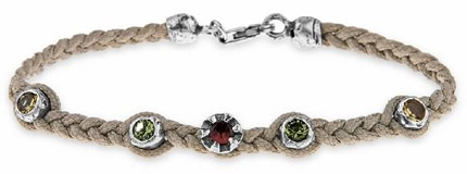 BRACELET NYLON BEIGE SILVER CUBIC ZIRCONIA GREEN YELLOW RED SILVER OF BAT C40AT19 Plata de palo