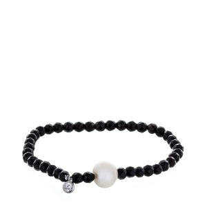 CULTURED PEARL ONYX BRACELET AND SILVER LAW