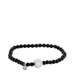 Culture droit de bracelet et argent perle Onyx
