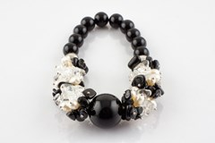 Bracelet Onyx and cultured pearls