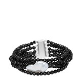 BRACELET ONYX AND PEARL BAROQUE XL 18-132846