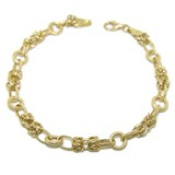 BRACELET YELLOW GOLD 18KTES HOOPS NUANCED AND GRIDS BRIGHTNESS. 18.5 CM NEVER SAY NEVER