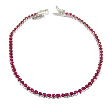 BRACELET OF WHITE GOLD 18K WITH ZIRCONS COLOR RED TYPE RIVIERE OF 18.50 CM LONG. NEVER SAY NEVER