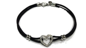 BRACELET WHITE GOLD HEART WITH DIAMONDS
