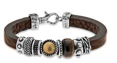 BRACELET GOLD LEATHER SILVER BROWN LEATHER L100ET21 STICK SILVER TIGER EYE Plata de palo