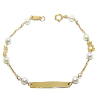 BRACELET FOR BABY YELLOW GOLD 18KTES AND CULTURED PEARLS OF 4 MM) NEVER SAY NEVER
