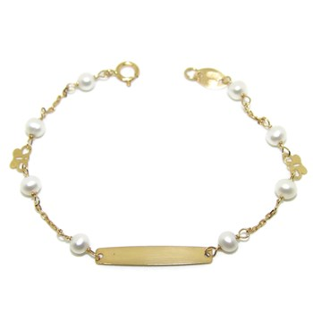 BRACELET FOR BABY YELLOW GOLD 18KTES AND CULTURED PEARLS NEVER SAY NEVER