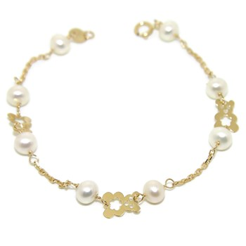 BRACELET FOR COMMUNION YELLOW GOLD 18KTES WITH 8 CULTURED PEARLS OF 5MM NEVER SAY NEVER