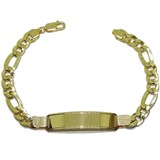 BRACELET MENS LARGE 18K YELLOW GOLD WITH PLATE AND CHAIN, 3X1 8MM NEVER SAY NEVER
