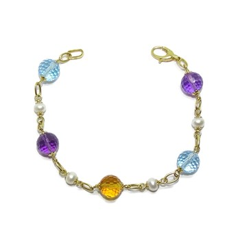 BRACELET FOR WOMAN IN 18K YELLOW GOLD WITH 5 COLOURED STONES AND NATURAL PEARLS NEVER SAY NEVER