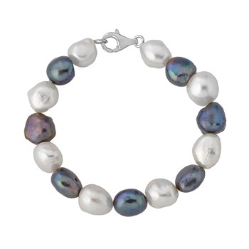 Pulsera perlas cultivadas barrocas blanca y gris