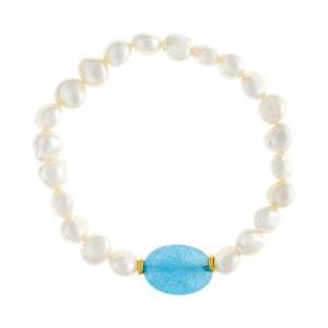 Pulsera perlas barrocas y ágata azul