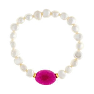 BRACELET BAROQUE PEARLS AND PINK AGATE