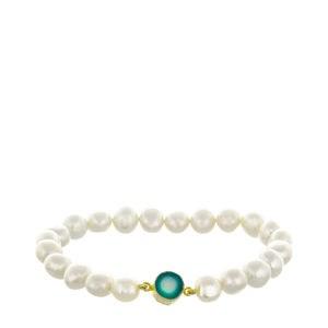 Perles de culture Baroque droit de blanc et argent bracelet poche