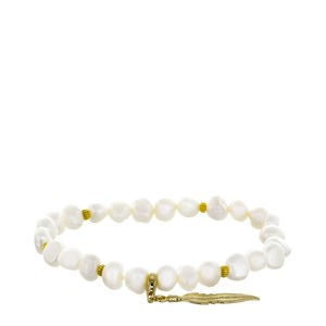 BRACELET PEARL CULTURED WHITE AND FEATHER SILVER OF LAW GOLDEN